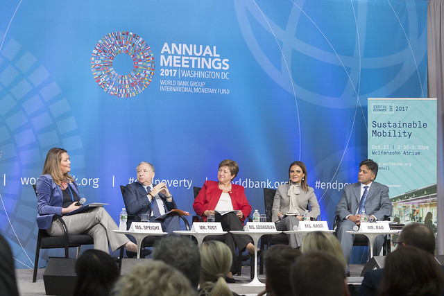 Thu, 10/12/2017 - 14:44 - October 12, 2017 - WASHINGTON, DC. World Bank / IMF 2017 Annual Meetings. Sustainable Mobility. Watch Event.  Kristalina Georgieva, CEO, World Bank; Michelle Yeoh, UN Ambassador And Actress; Jean Todt, President,  Fédération Internationale De L'automobile; Raj Rao, Ceo, Ford Smart Mobility LLC; Sahar Nasr, Minister Of Investment And International Cooperation, Egypt. Moderator: Helene Speight, Ambassador, Prince's Trust. Photo:  World Bank / Simone D. McCourtie  Photo ID: 101217-SustainableMobility-0085f