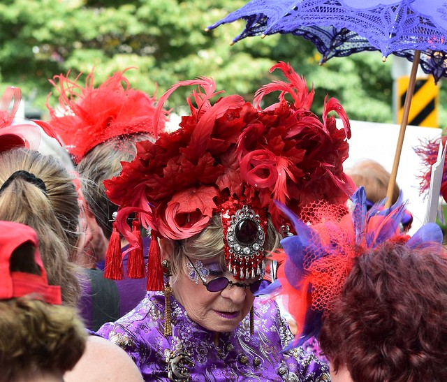 Red Hat Society Purple Glasses and Red Feather Headress