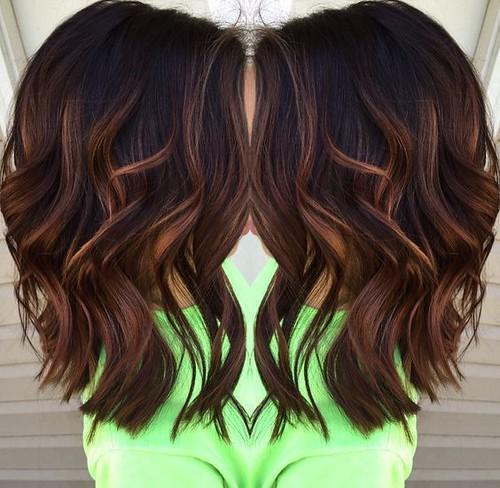 Trendy Hair Highlights Daek Brown Medium Hairstyle 2017