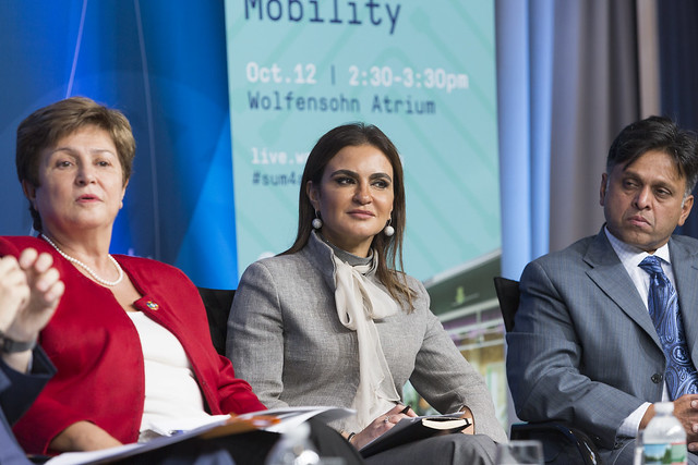 Thu, 10/12/2017 - 14:42 - October 12, 2017 - WASHINGTON, DC. World Bank / IMF 2017 Annual Meetings. Sustainable Mobility. Watch Event.  Kristalina Georgieva, CEO, World Bank; Michelle Yeoh, UN Ambassador And Actress; Jean Todt, President,  Fédération Internationale De L'automobile; Raj Rao, Ceo, Ford Smart Mobility LLC; Sahar Nasr, Minister Of Investment And International Cooperation, Egypt. Moderator: Helene Speight, Ambassador, Prince's Trust. Photo:  World Bank / Simone D. McCourtie  Photo ID: 101217-SustainableMobility-0070f