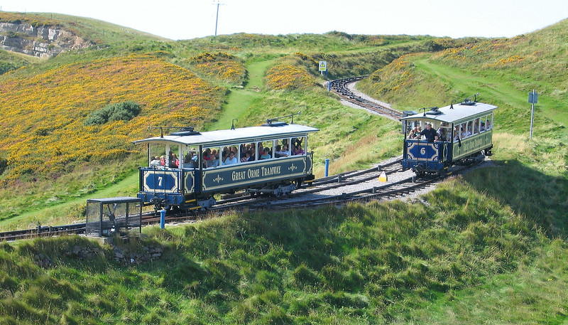 Passing place, Great Orme Tramway, Llandudno, Wales.