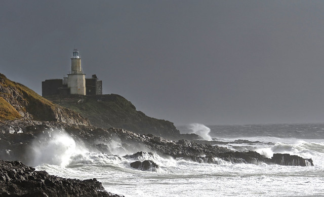 Mumbles Lighthouse in stormy weather