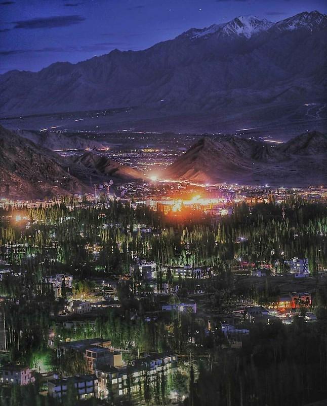 Leh City at night .  http://ghumakkadd.com/stok-kangri-trek/
