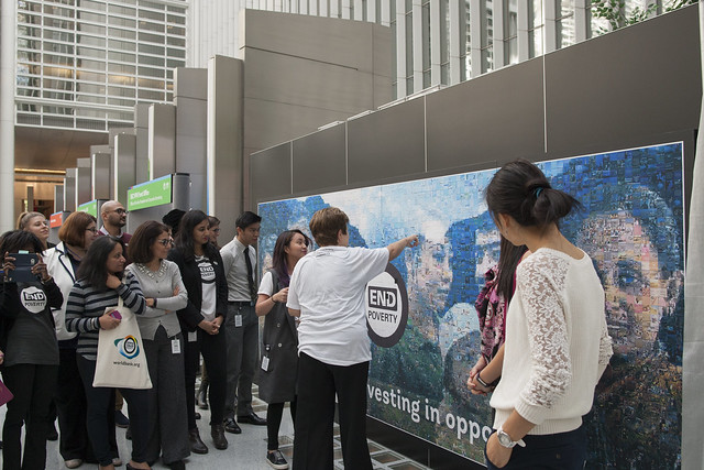 Mar, 10/17/2017 - 11:49 - October 19, 2017 - WASHINGTON DC. On End Poverty Day 2017, World Bank CEO Kristalina Georgieva joins staff to place the final piece on the #EndPovertyMosaic in the atrium of the World Bank Headquarters in Washington, DC. Photo:  World Bank / Simone D. McCourtie   Photo ID: 101717-HashtagMosaic-0038f
