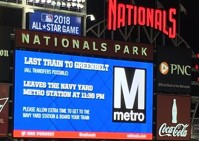 Digital billboard at Nationals Stadium showing the closing time for the WMATA system/Navy Yard Metrorail station