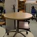 Maple circular laminate table E80 with wheels