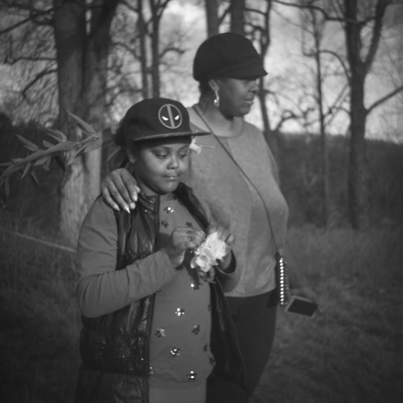 singer Rhoda Weaver (r) with daughter Sharai, Biltmore Estate, Asheville, NC, Argus Super Seventy Five, Ilford Delta 100, R5 Monobath Develper, winter 2015-16