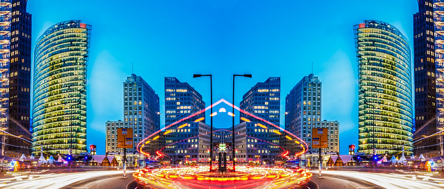Robert Emmerich - 97 NLE - Mirror City - Long exposure Potsdamer Platz at Night 1 in Berlin - German