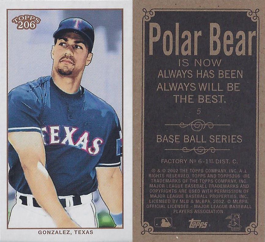 2002 Topps 206 Mini Baseball Card Series 1 Polar Bear