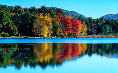 poultney vermont unitedstates us fall trees lake water reflections landscape
