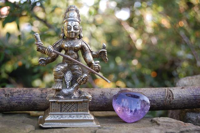 Indian Bronze Goddess Durga Mahishasuramardini Figurine.