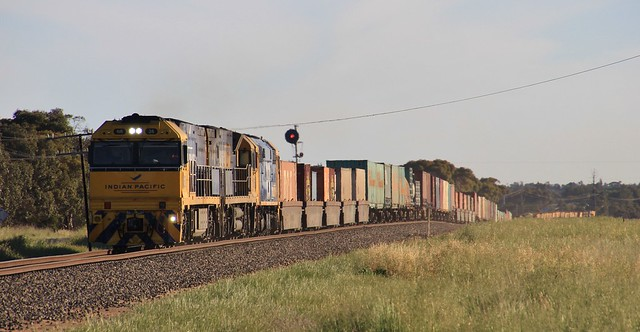 NR26 NR56 and 8050 lead a 90 wagon long PM5 out of Horsham