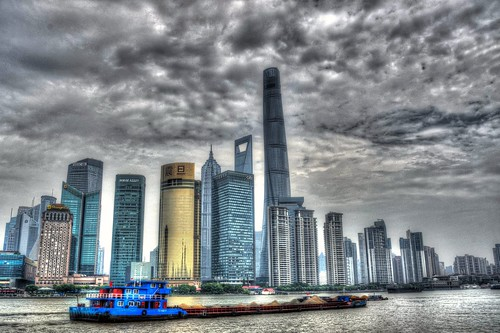 Shanghai, view on Pudong, China extreme HDR