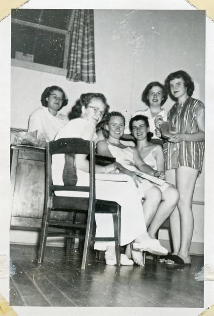 Teenage Girls in Pajamas Pose, 1950s