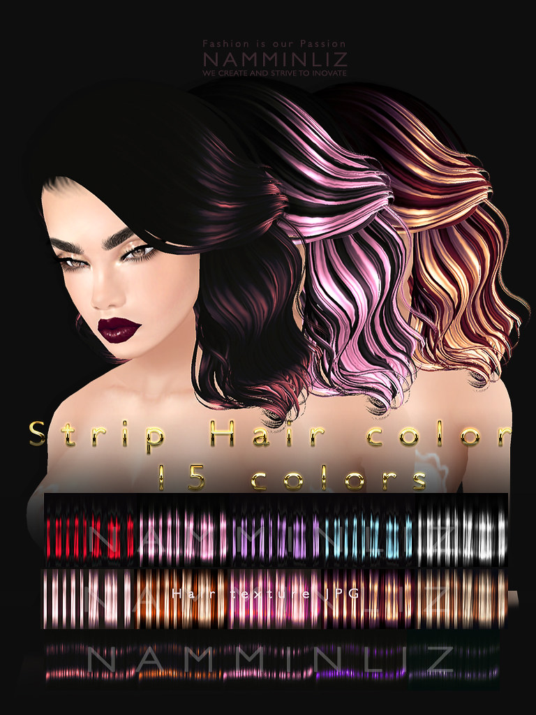 Strip hair color V1, V2, V3 5 colors textures JPG imvu fil… | Flickr