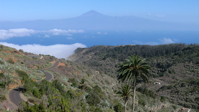 La Gomera (Spain's Canary Islands) -  view from Agulo to  Pico (Mount) del Teide  -  Its 3.718 meter / 12,198 ft summit is the highest point above sea level in the canary islands
