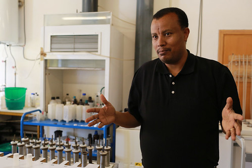 Isotope hydrologist Seifu Kebede at the National Isotope Hydrology Lab