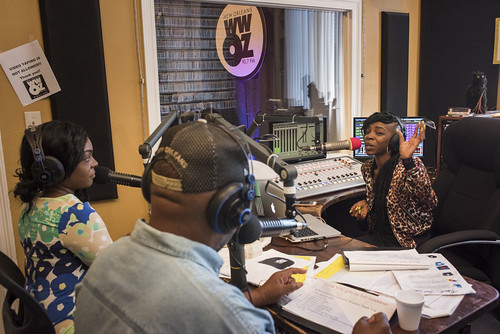 KaTrina Griffin, Action Jackson, and Cole Williams during WWOZ fall pledge drive on October 24, 2017. Photo by Ryan Hodgson-Rigsbee - www.rhrphoto.com