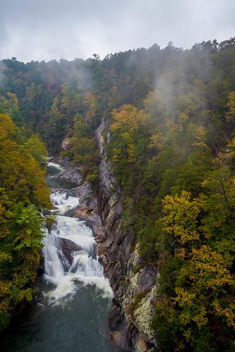 tallulah tallulahfallsstatepark waterfall georgia ga autumn fall north northgeorgia rain fog