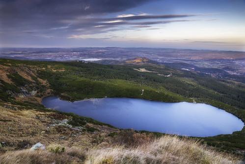 mountain lake water sunset