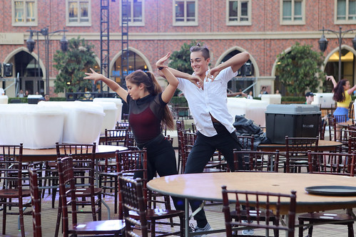 BFA students Zackery Torres and Simrin Player performing in USC Village Opening Performance dress rehesarsal
