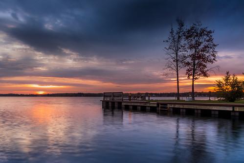 canoneos5dmarkiv ef24105mmf4lisusm lake cadillac mitchell campground pier sunrise amenacer reflections morning michigan clamlake canal