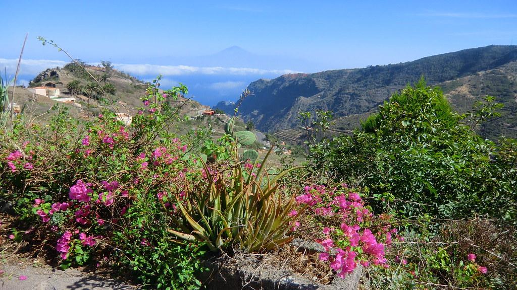 La Gomera (Spain's Canary Islands) - Gomera's east coast region - in the back the island of Teneriffe and Pico del Teide