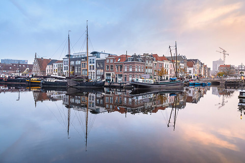 bluehour leiden moored nauticalvessel netherlands sailingship thenetherlands urbanscene architecture boat calm canals city cityscape europe galgewater harbor jetty morning outdoors port reflection sailboat sea ship ships sky sunrise tourism travel water yacht zuidholland nederland