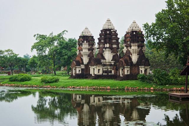 Phra Prang Sam Yot replica from the Khmer era in Mueang Boran, Samut Phrakan, Thailand