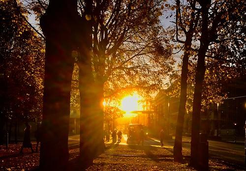 turister resa gator park norge norway oslo sunrise