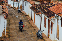 Motorcycles on Cobblestone Street, Barichara Colombia