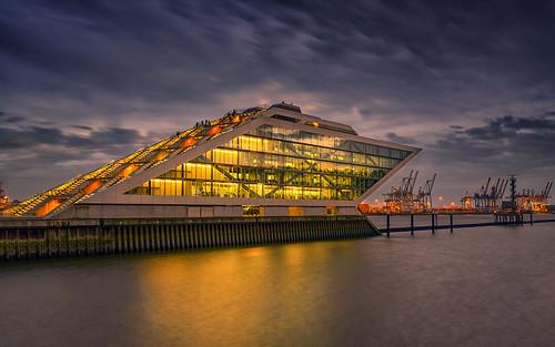 skyporn longexposure wow hamburg color sunset seaside elbe germany reflections architecture seascape lights outdoor aurorahdr dockland deutschland de
