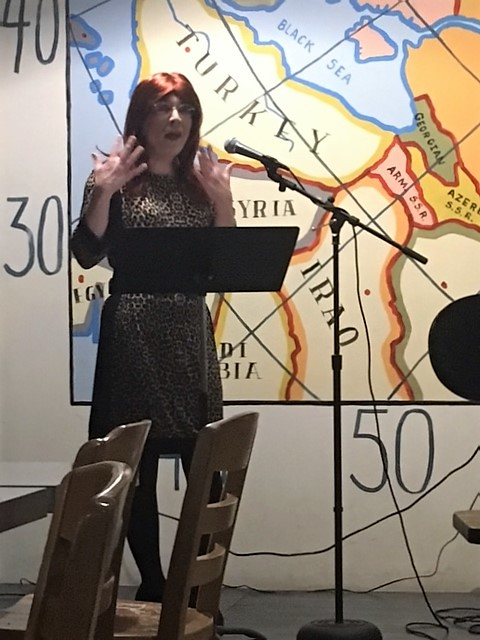 Performing poetry at Cargo Coffee