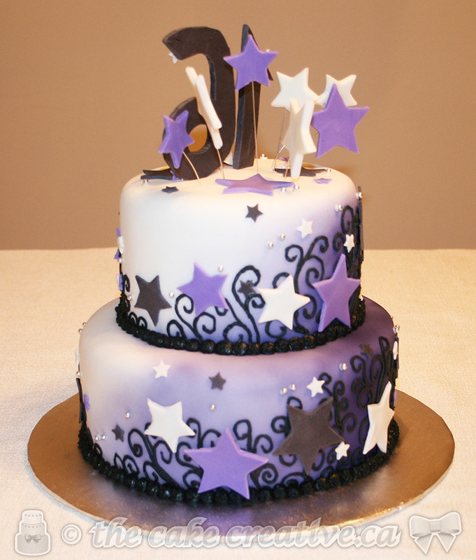 Outstanding Swirls Stars Sweet 16 Birthday Cake Chocolate Base Tier Flickr Personalised Birthday Cards Sponlily Jamesorg