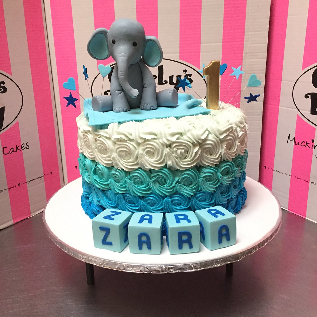 Admirable Single Tier 1St Birthday Cake Iced In Ombre Blue Rose Swir Flickr Funny Birthday Cards Online Alyptdamsfinfo