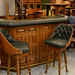 Large solid teak and granite curved  home bar c/w 4 chairs  E1k