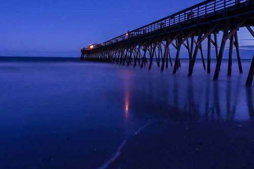 longexposure blue gh2 ocean sunset lumixgh2 myrtlebeachstatepark lumix landscape atlantic smoothwater pier statepark 14140mm southcarolina myrtlebeach waves grandstrand sky water