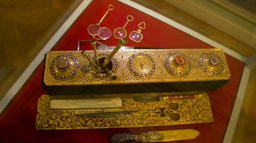 A golden desk stationery set at Egypt's Royal Jewelry Museum | by Kodak Agfa