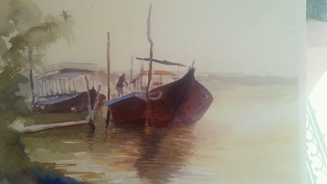 Boats Thu Bon River. Hoi An. Watercolor.