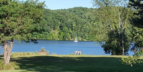 lake water boat sailboat