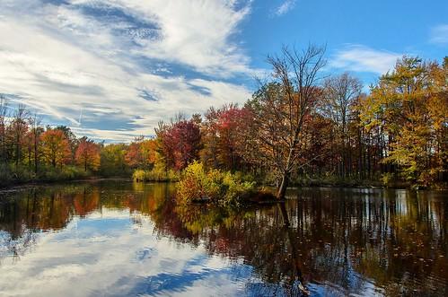 autumn autumnwalk fallfoliage water reflection trees lake landscape clevelandmetroparks northchagrinreservation northchagrinnaturecenter hike outdoors 2017 nikond7000 clouds sky bluesky
