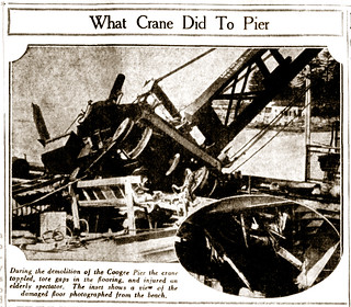 """28 April 1934 - """"WHAT CRANE DID TO PIER"""", Coogee, Sydney, New South Wales, Australia"""