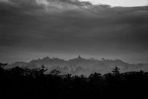 bw skyclouds sunrise indonesia yogyakarta borobudur