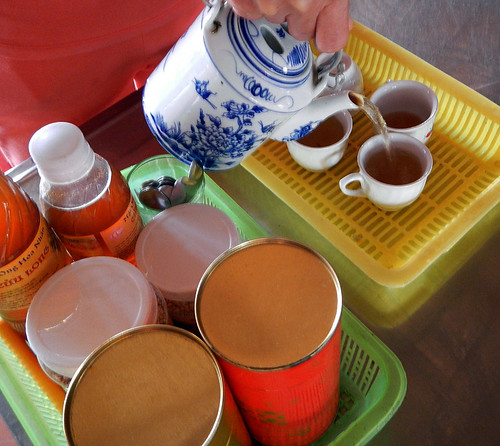 Tea with bee pollen at the snack factory on the Mekong River in Vietnam
