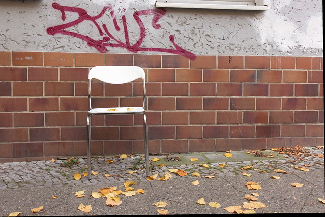 Please take a seat white Plastic Seat