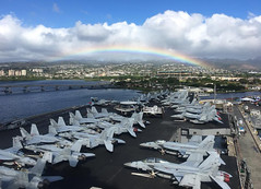 USS Nimitz (CVN 68) sits along the pier at Joint Base Pearl Harbor-Hickam after arriving for a port visit, Nov 25. (U.S. Navy/Lt. Cmdr. Christopher May)