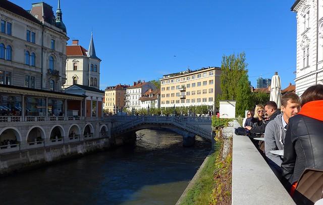 Restaurants and bars along Ljubljanica river, Ljubljana