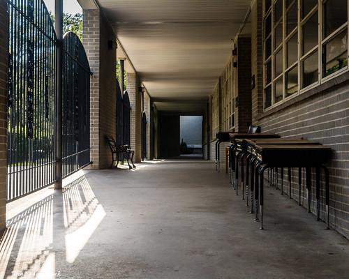 corridor desks schooldesks school shadows gate pointofview