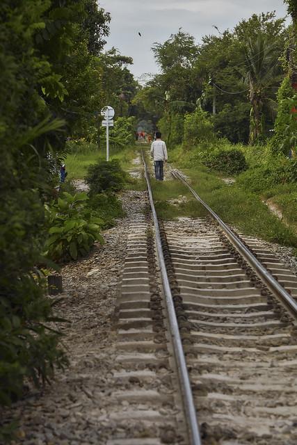 Walking on railroad tracks