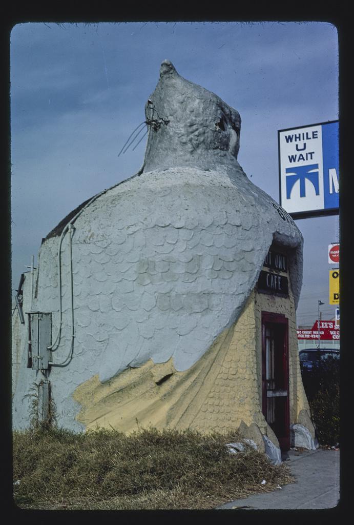 Hoot Owl Cafe, side view, 8711 Long Beach Boulevard, Southgate, Los Angeles, California (LOC)
